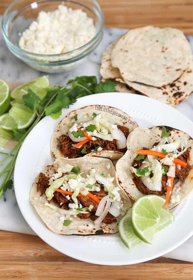 Slow Cooker Shredded Beef Tacos   The Little Epicurean