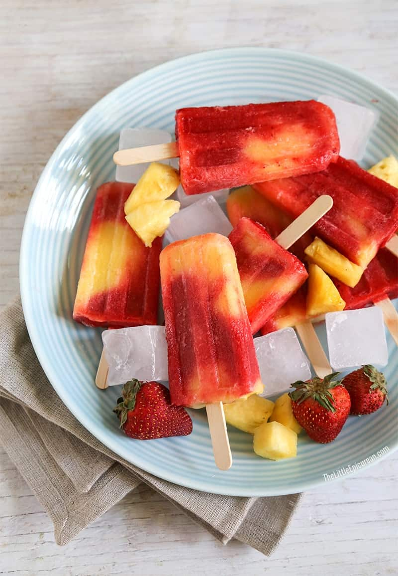 Fruity Yogurt Ice Pops -The strawberry-pineapple pops are so yummy ...