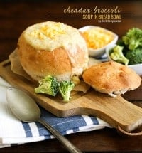 Cheddar Broccoli Soup in bread bowl // The Little Epicurean