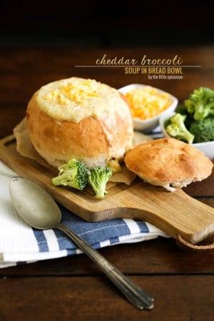 Cheddar Broccoli Soup in bread bowl // The Little Epicurean