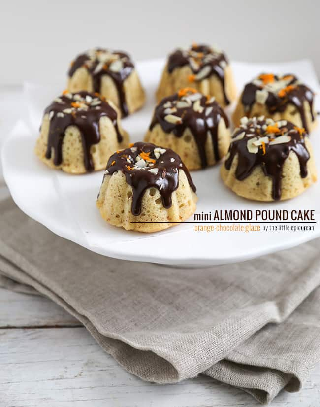 Mini Almond Pound Cake with Chocolate-Orange Glaze