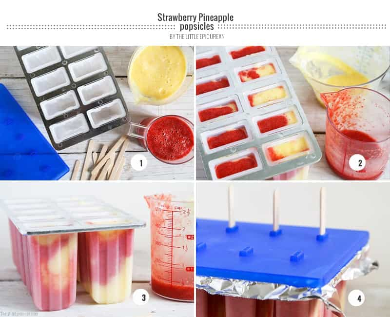 Strawberry Pineapple Popsicles step-by-step-popsicles