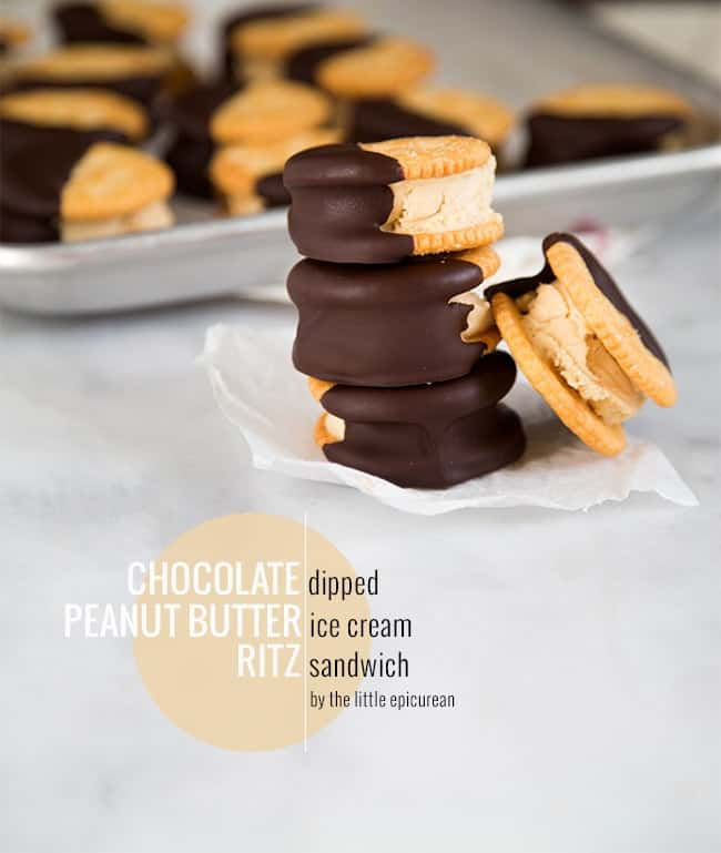 Peanut Butter Ice Cream Sandwich dipped in chocolate | The Little Epicurean