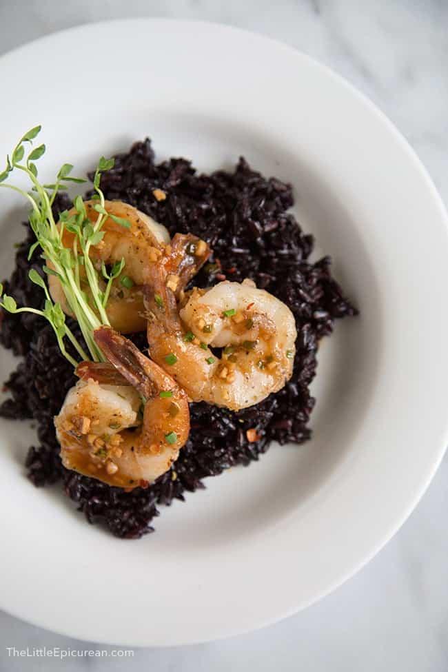 Soy Ginger Shrimp with forbidden rice | The Little Epicurean