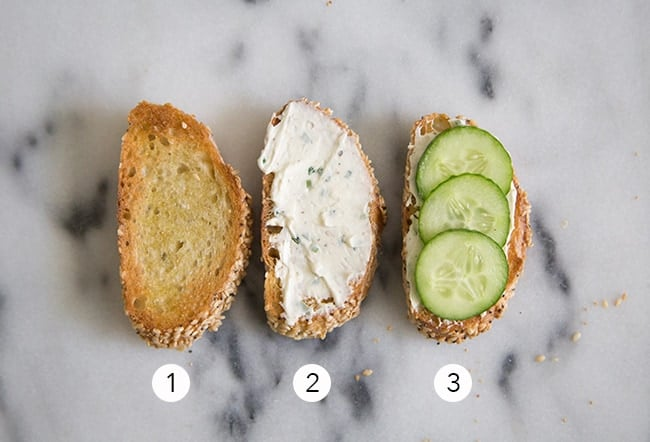 Cucumber Crostini with Garlic and Chives Cream Cheese