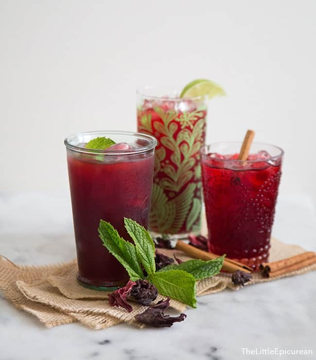 A trio of cold brew hibiscus tea