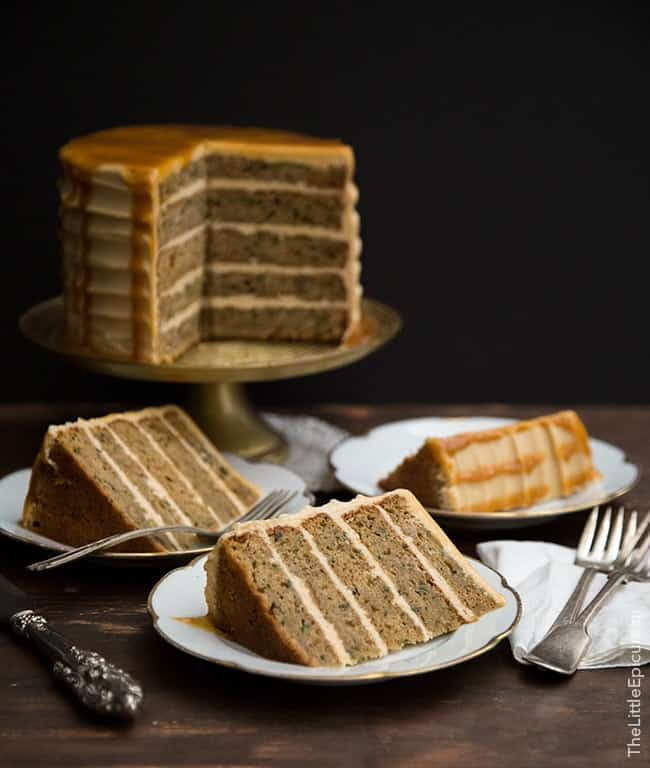 Brown Butter Zucchini Cake with caramel- The Little Epicurean
