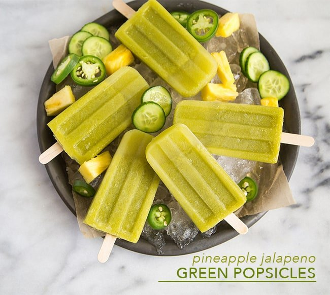Pineapple Jalapeno Green Popsicles | the little epicurean