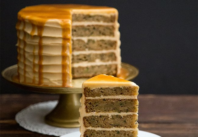 Brown Butter Zucchini Cake with salted caramel