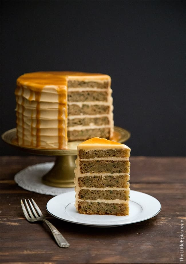 Salted Caramel Cake Recipe brown butter zucchini cake with caramel- the little epicurean
