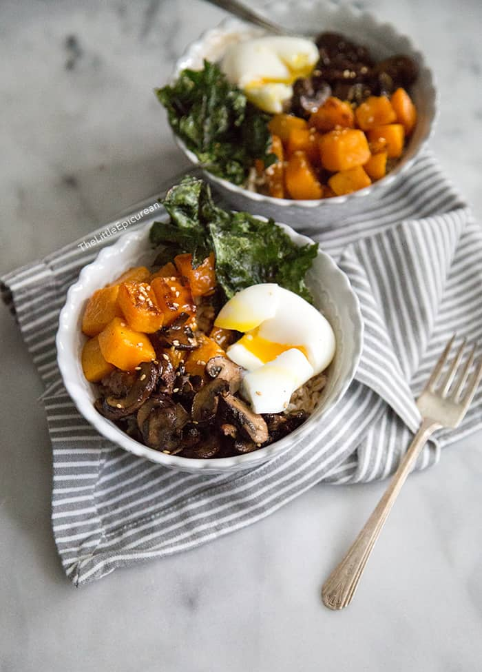 Barley Rice Bowl with roasted vegetables
