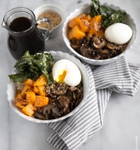 Barley Rice Bowl with vegetables, soft boiled egg, and teriyaki sauce