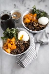 Barley Rice Bowl with vegetables, soft boiled egg, and teriyaki sauce