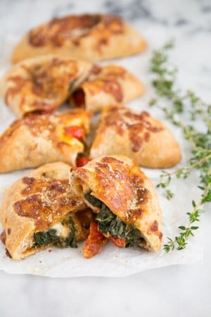 Spicy Chicken Sausage and Spinach Calzone