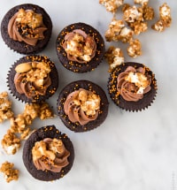 Chocolate Peanut Butter Cake with caramel popcorn | the little epicurean