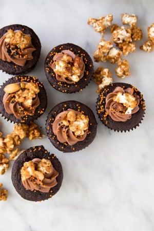Chocolate Peanut Butter Cake with caramel popcorn | the little epicurean