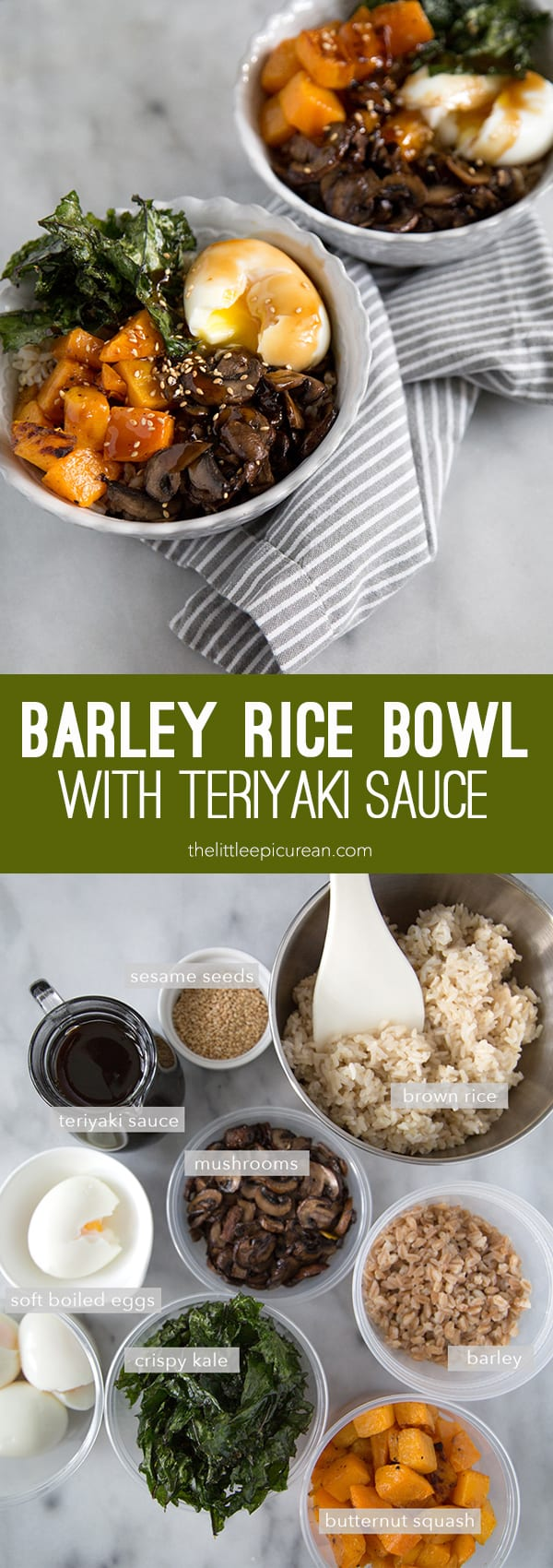 Barley Rice Bowl with Teriyaki Sauce