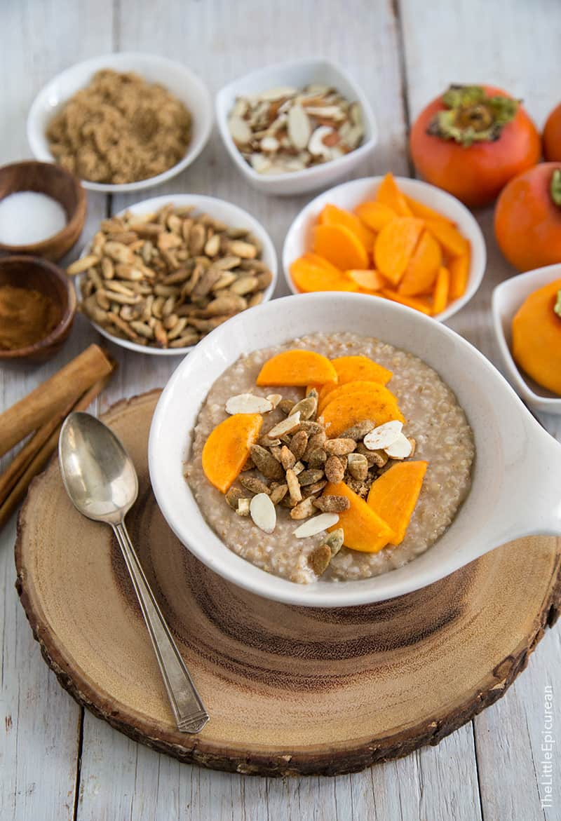 Overnight Steel Cut Oatmeal with persimmon