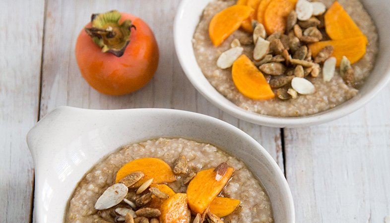 Overnight Steel Cut Oatmeals with persimmon and agave