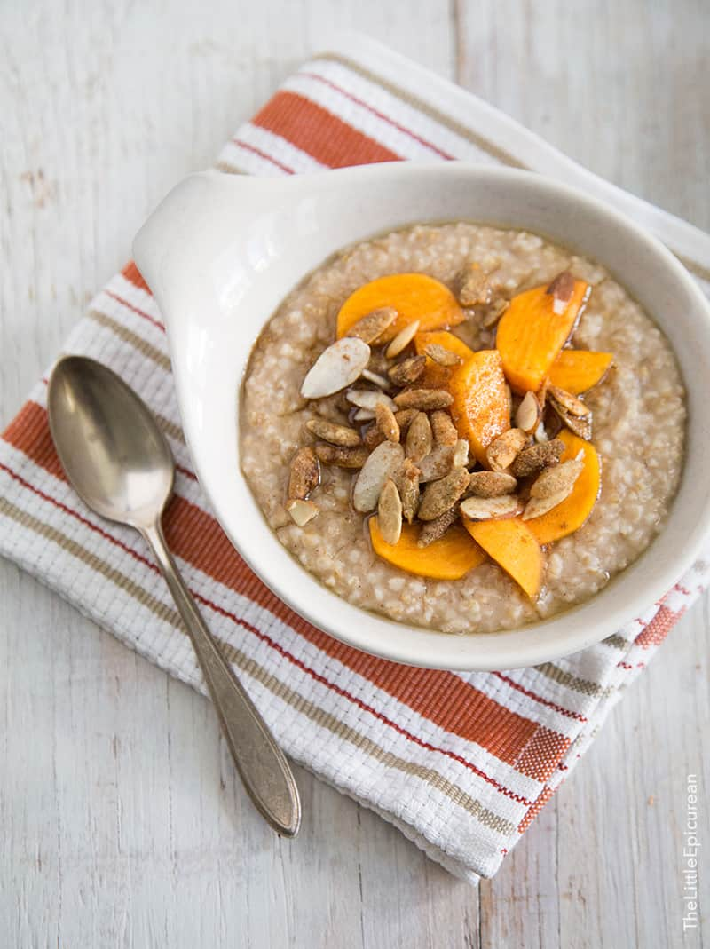 Persimmon and spiced pumpkin seed overnight steel cut oatmeal