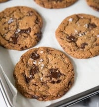 Chocolate Chunk Cookies with hazelnut and sea salt