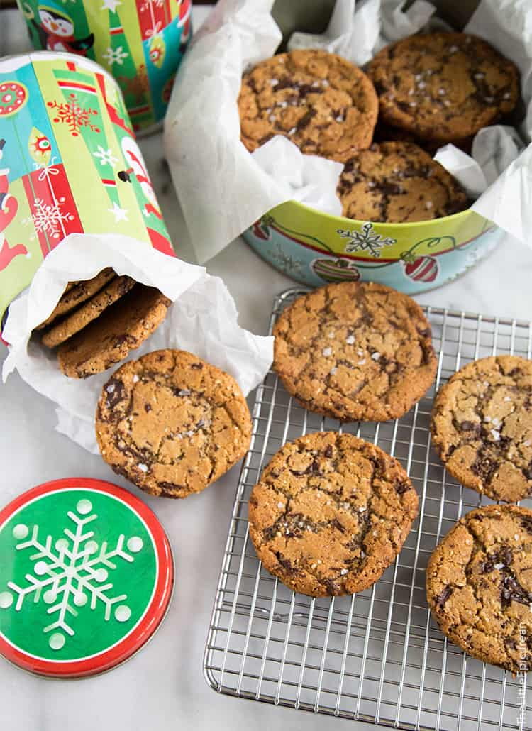 Chocolate Chunk Cookies with hazelnut and sea salt