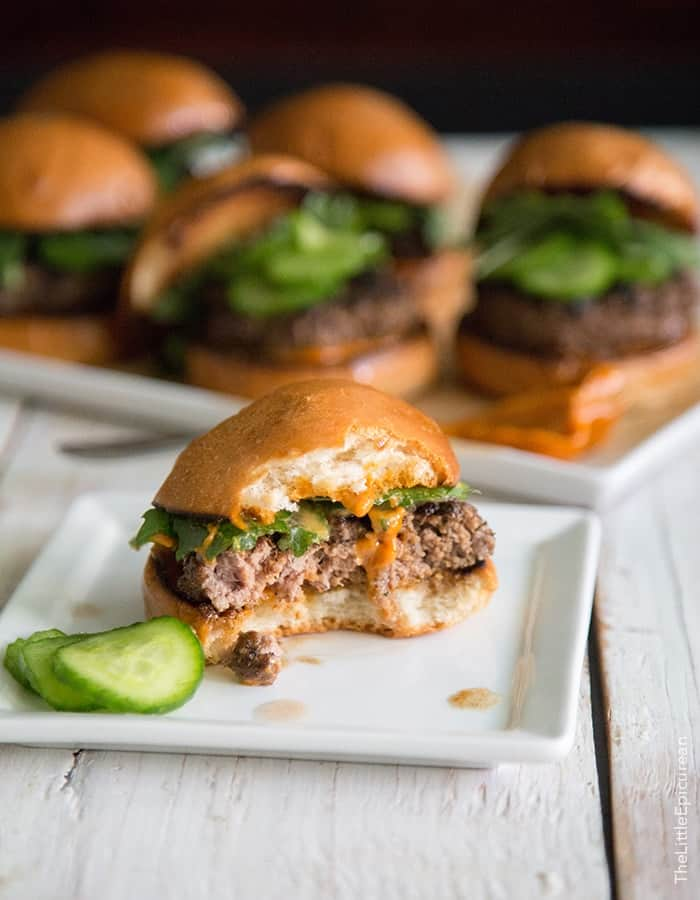 Asian Sliders with gochujang mayo