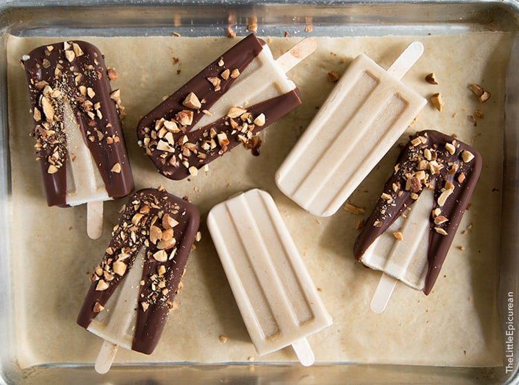 Banana Coconut Ice Pops with chocolate and almonds