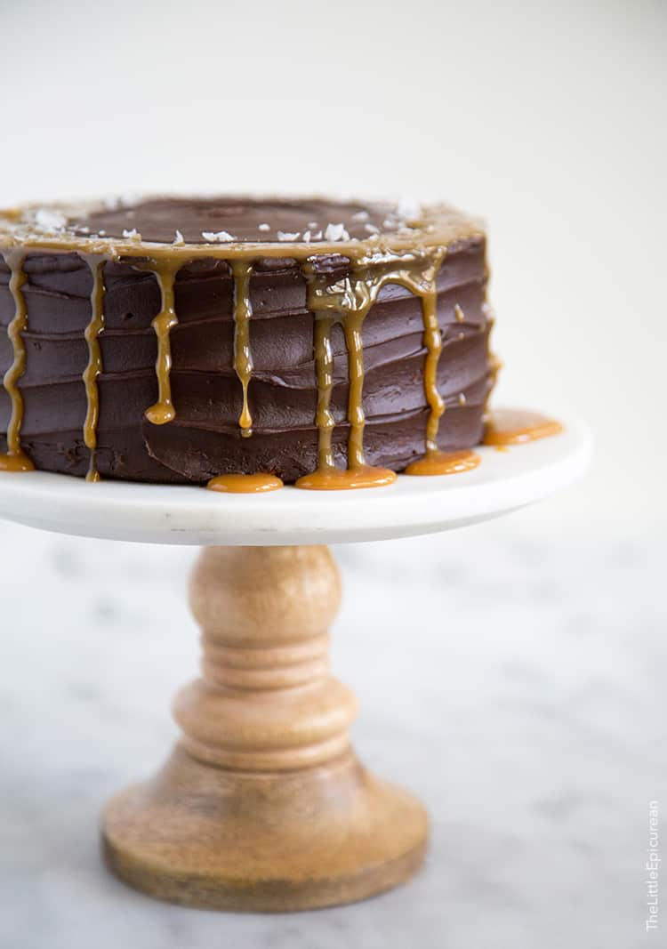 Buttermilk Chocolate Cake with caramel