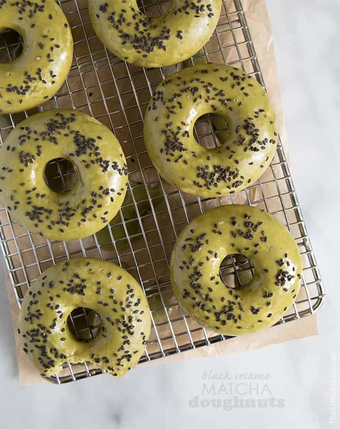 Black Sesame Matcha Doughnuts (baked)