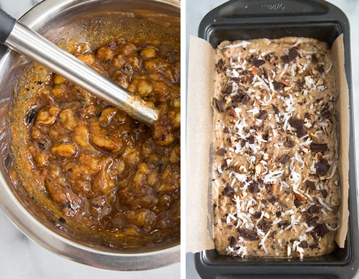 Roasted Banana Bread with coconut, chocolate + pecans   the little epicurean