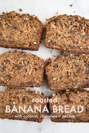 Roasted Banana Bread with coconut, chocolate + pecans | the little epicurean
