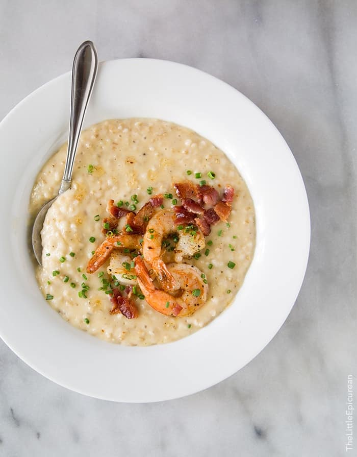"Shrimp and Oatmeal ""Grits"" 