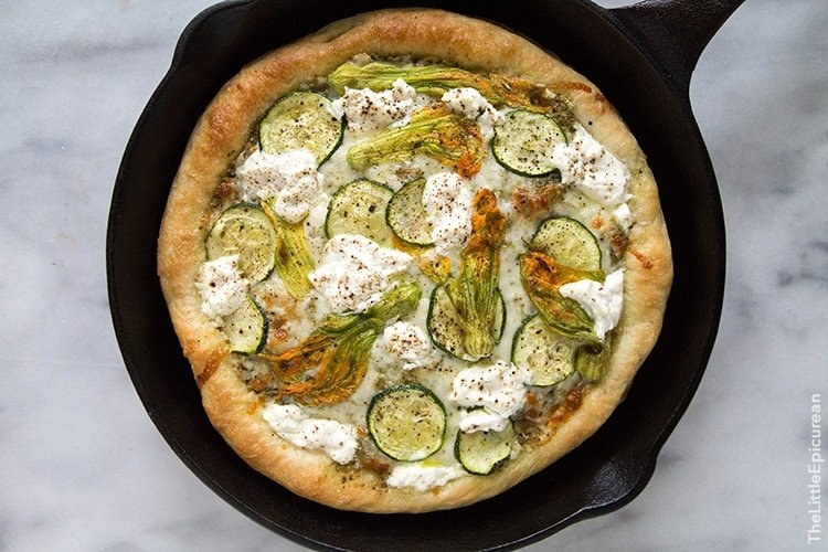 Ricotta Squash Blossom Pizza | the little epicurea