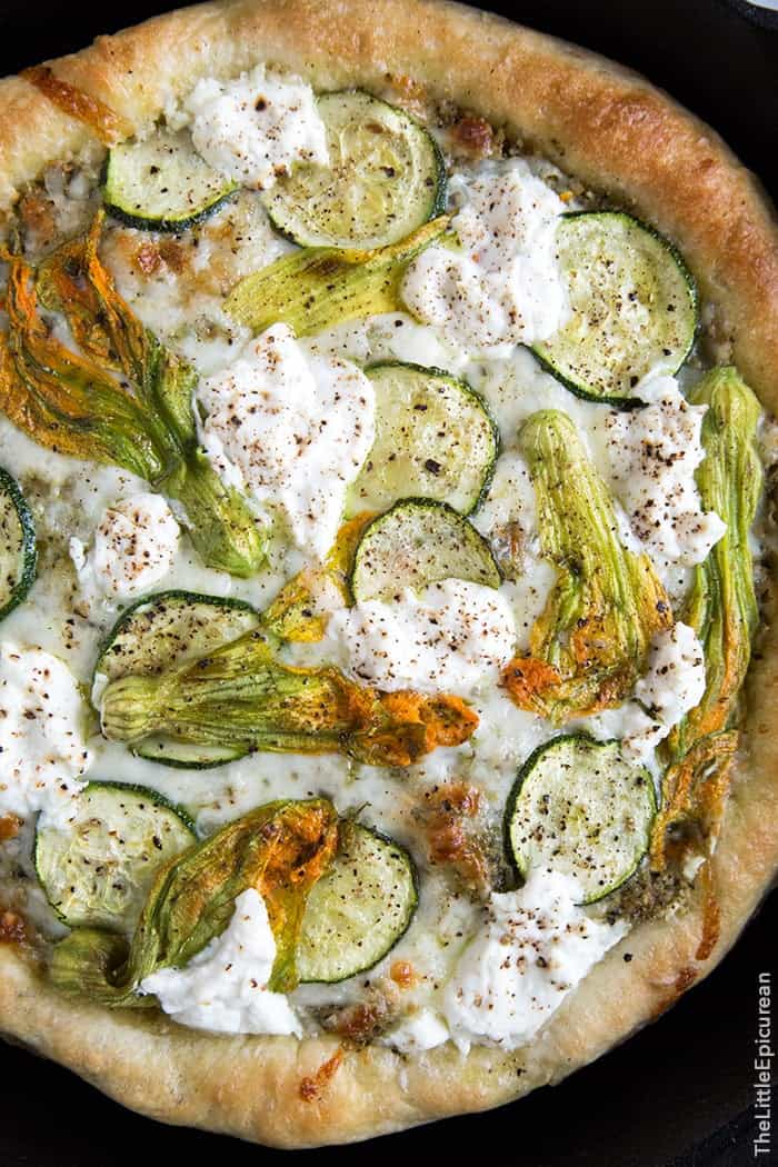Ricotta Squash Blossom Pizza | the little epicurean