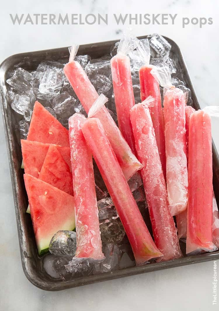 Watermelon Whiskey Pops | the little epicurean