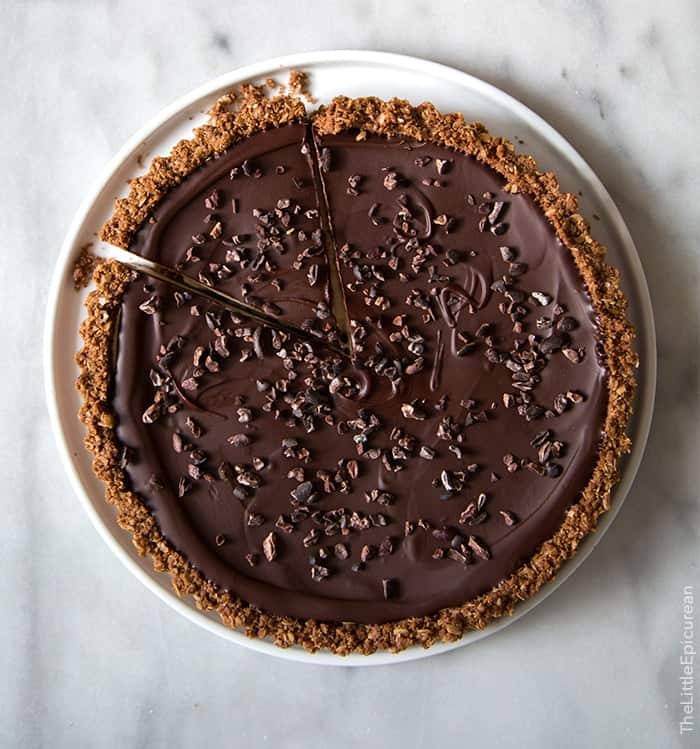 Chocolate Peanut Butter Oat Tart | the little epicurean