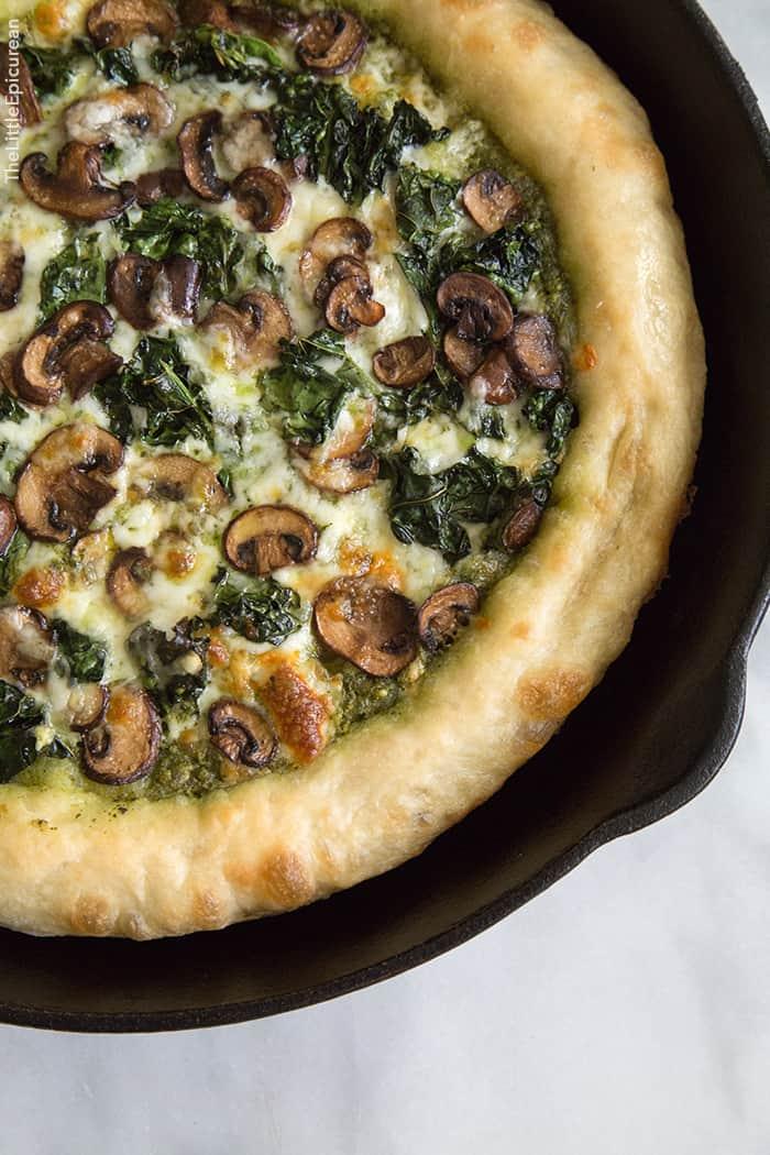 Mushroom Kale Pesto Pizza The Little Epicurean