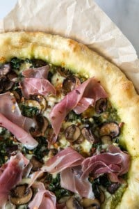 Mushroom Kale Pesto Pizza | the little epicurean