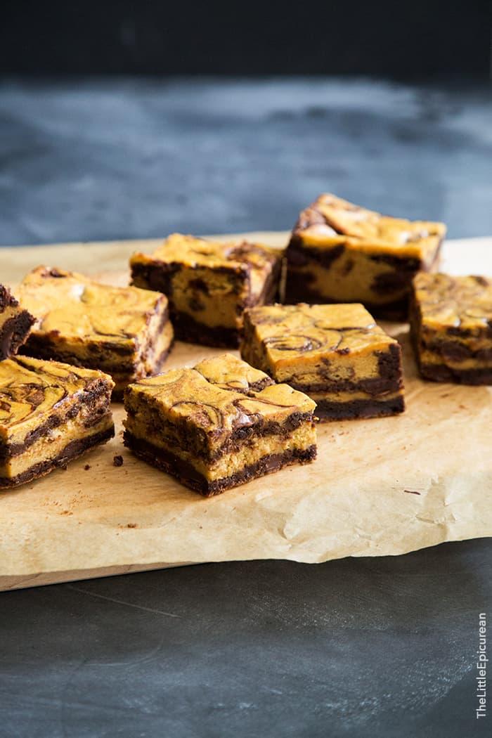 Pumpkin Cheesecake Swirl Brownies | the little epicurean