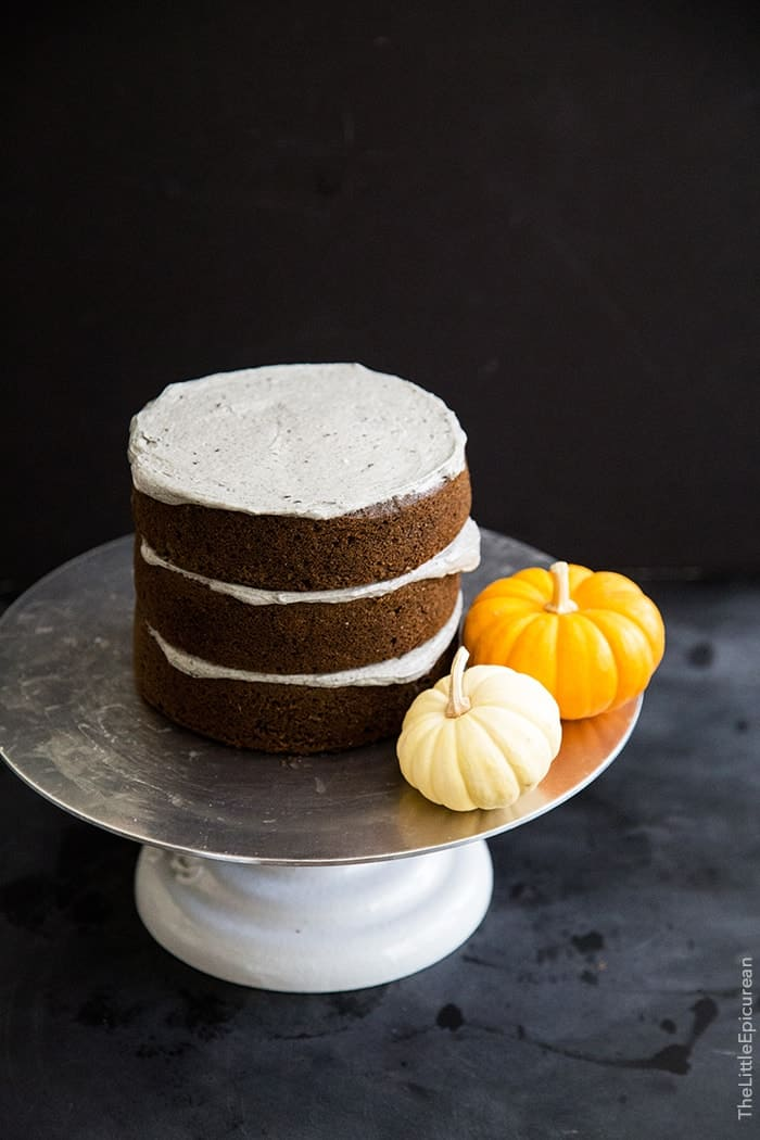 Halloween Black Sesame Cake with marshmallow webs