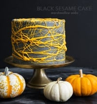 Halloween Black Sesame Cake with marshmallow webs