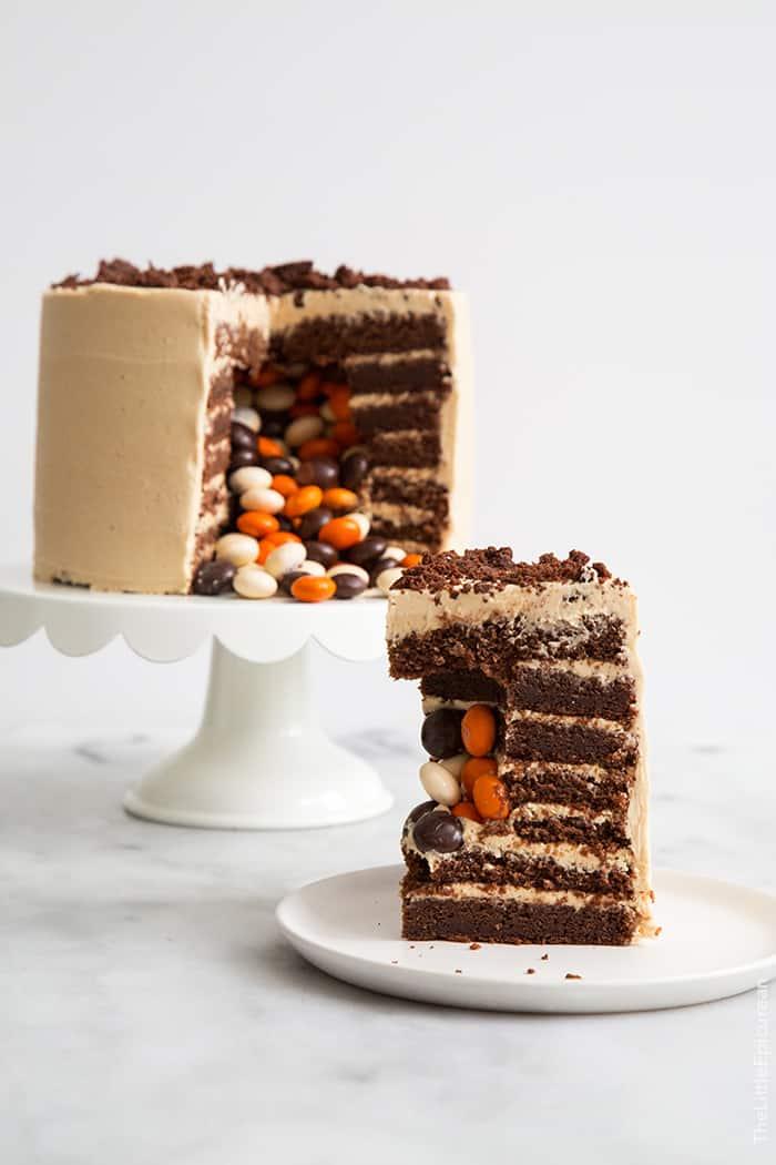 Chocolate Peanut Butter Surprise Cake