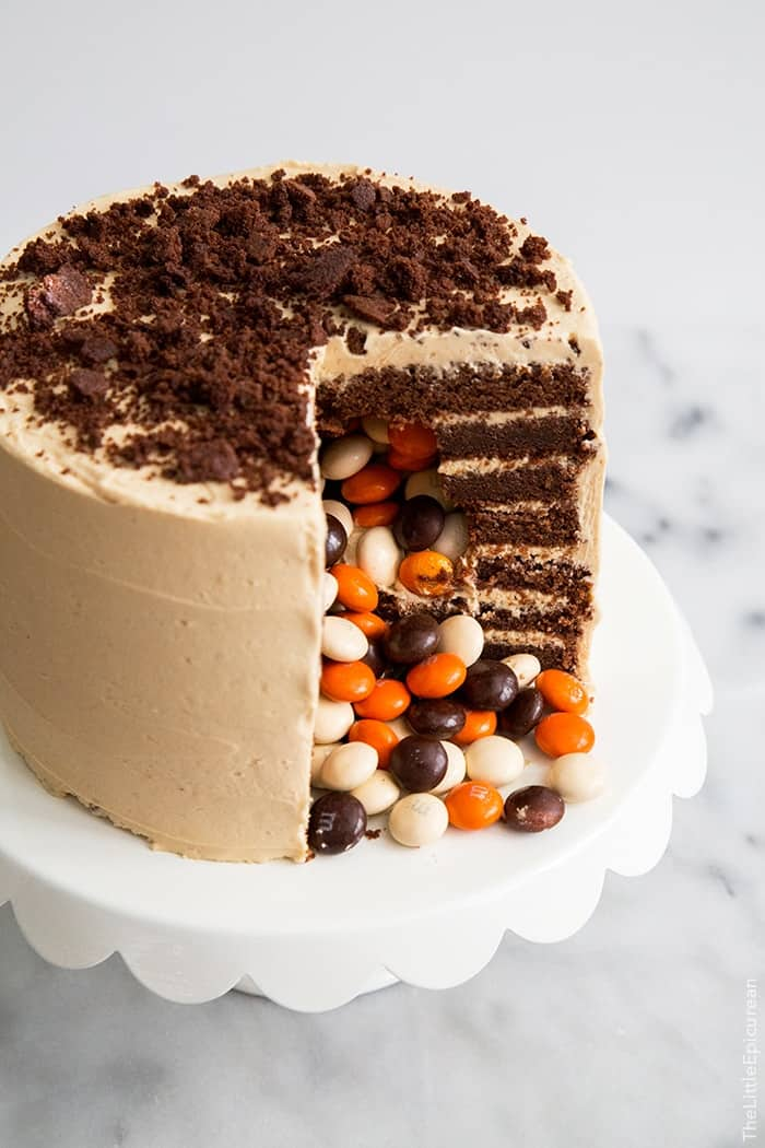 Chocolate Peanut Butter Surprise Cake