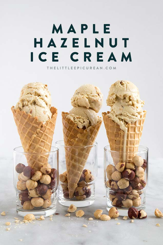 Maple Hazelnut Ice Cream flavored with dark maple syrup and loaded with toasted hazelnuts