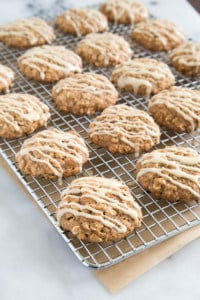 Apple Walnut Oatmeal Cookies with maple glaze