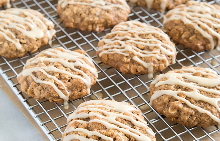 Apple Walnut Oatmeal Cookies with maple glaze