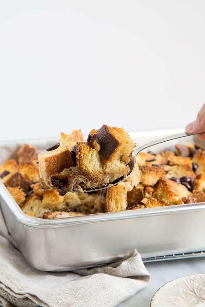 Walnut Chocolate Chip Bread Pudding-The Little Epicurean