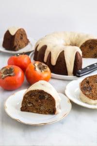 Persimmon Rum Bundt Cake with brown butter glaze