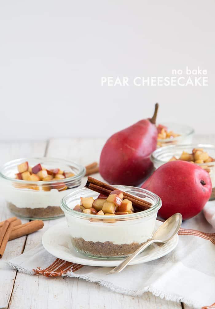 No Bake Pear Cheesecake